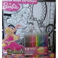 Barbie (MODE) Feutrine. Tableau relief 3D'velours