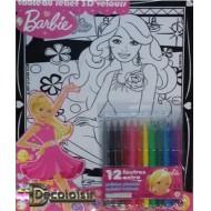 Barbie (miroir) Feutrine. Tableau relief 3D'velours