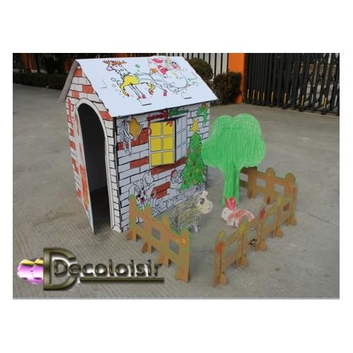 Cabane princesse peindre ou colorier d coloisir - Cabane en carton a colorier ...